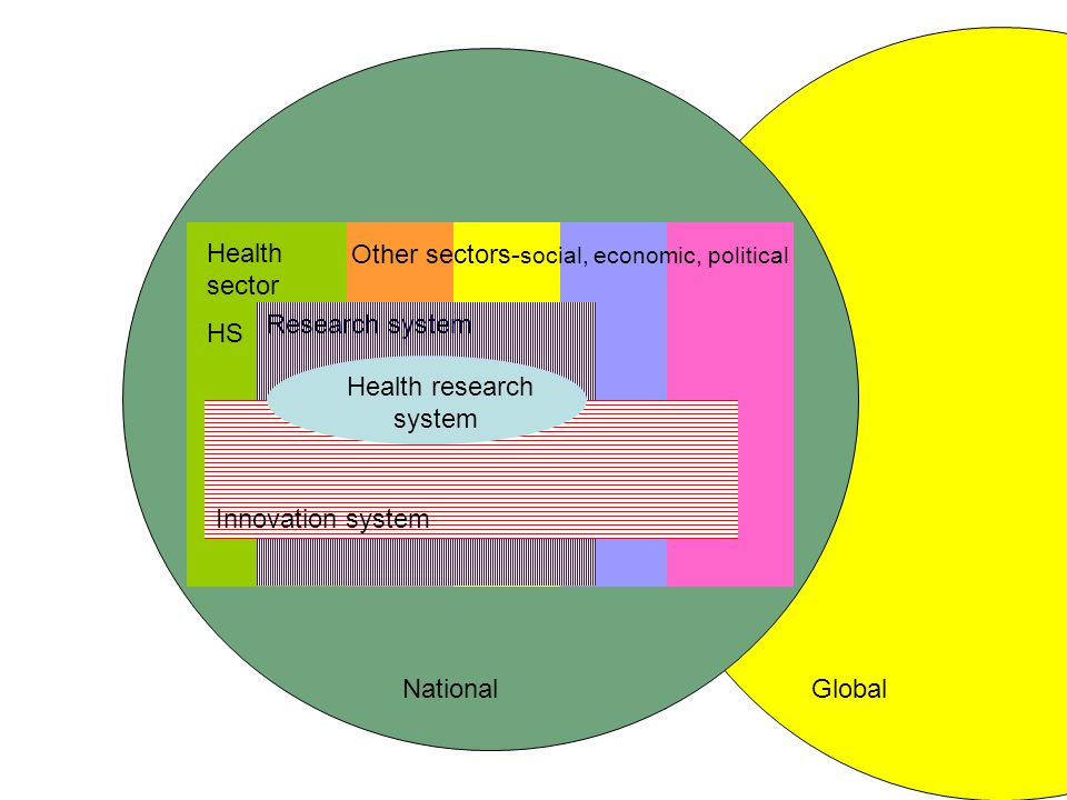 Research system Innovation system Health research system Health sector HS Other sectors- social, economic, political NationalGlobal