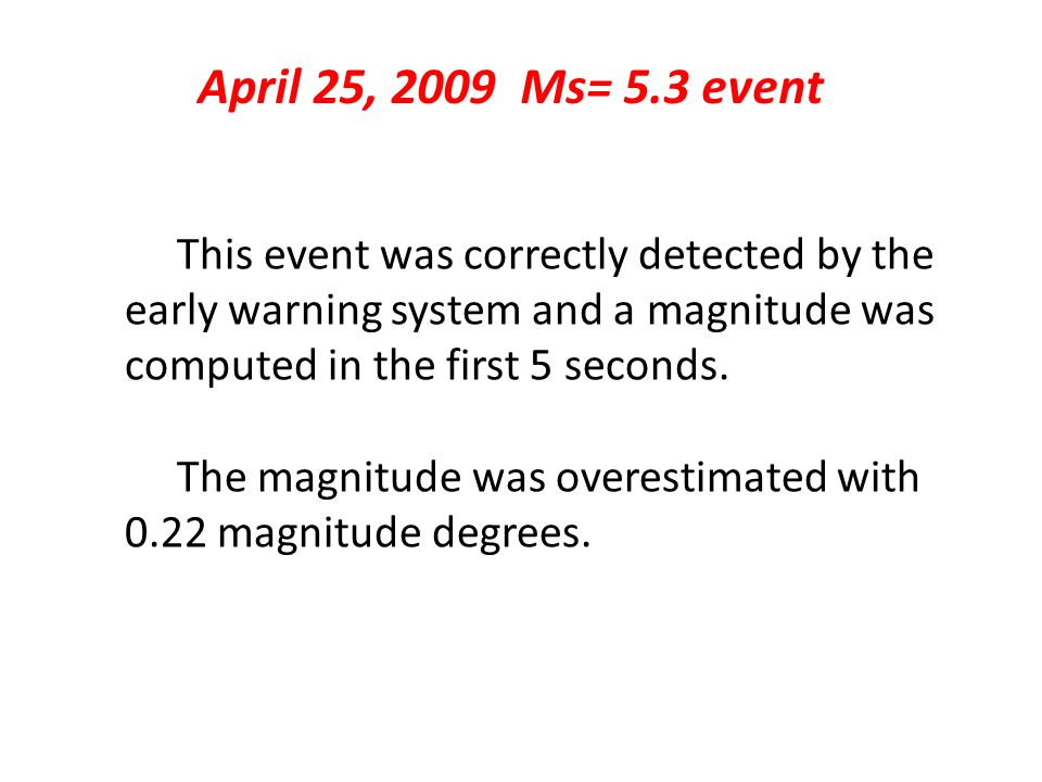 April 25, 2009 Ms= 5.3 event This event was correctly detected by the early warning system and a magnitude was computed in the first 5 seconds. The ma