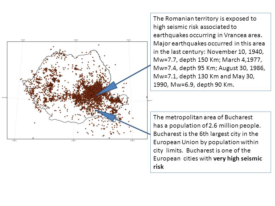The Romanian territory is exposed to high seismic risk associated to earthquakes occurring in Vrancea area.