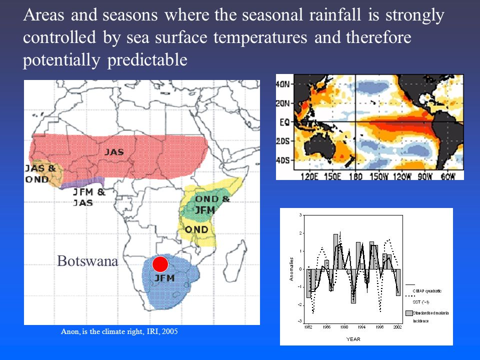 Areas and seasons where the seasonal rainfall is strongly controlled by sea surface temperatures and therefore potentially predictable Botswana Anon, is the climate right, IRI, 2005