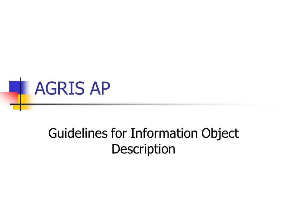 AGRIS AP Guidelines for Information Object Description