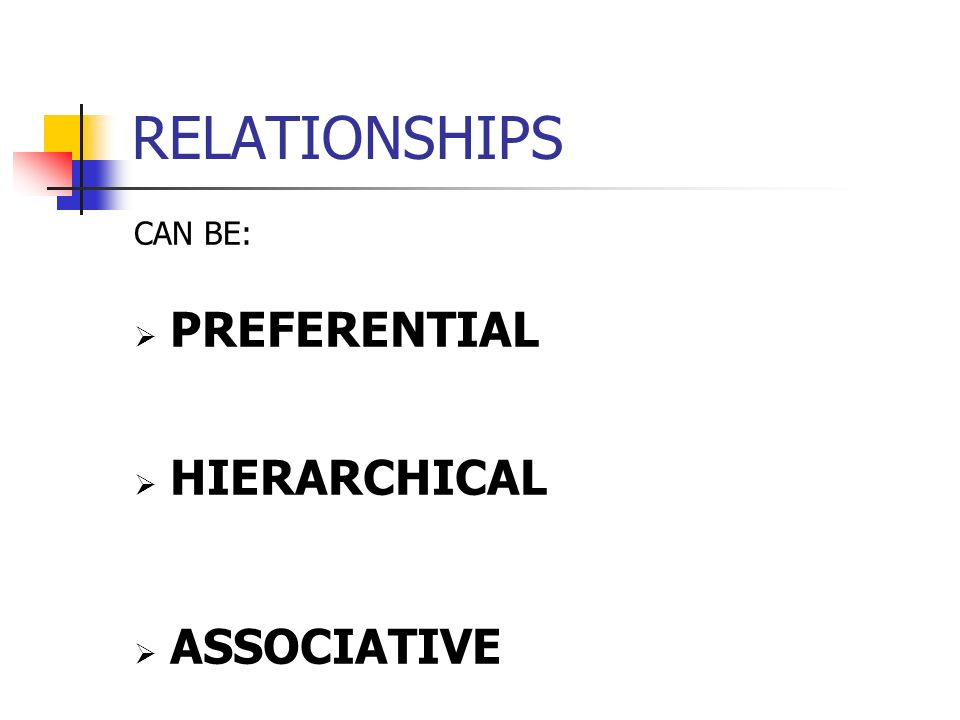RELATIONSHIPS CAN BE: PREFERENTIAL HIERARCHICAL ASSOCIATIVE