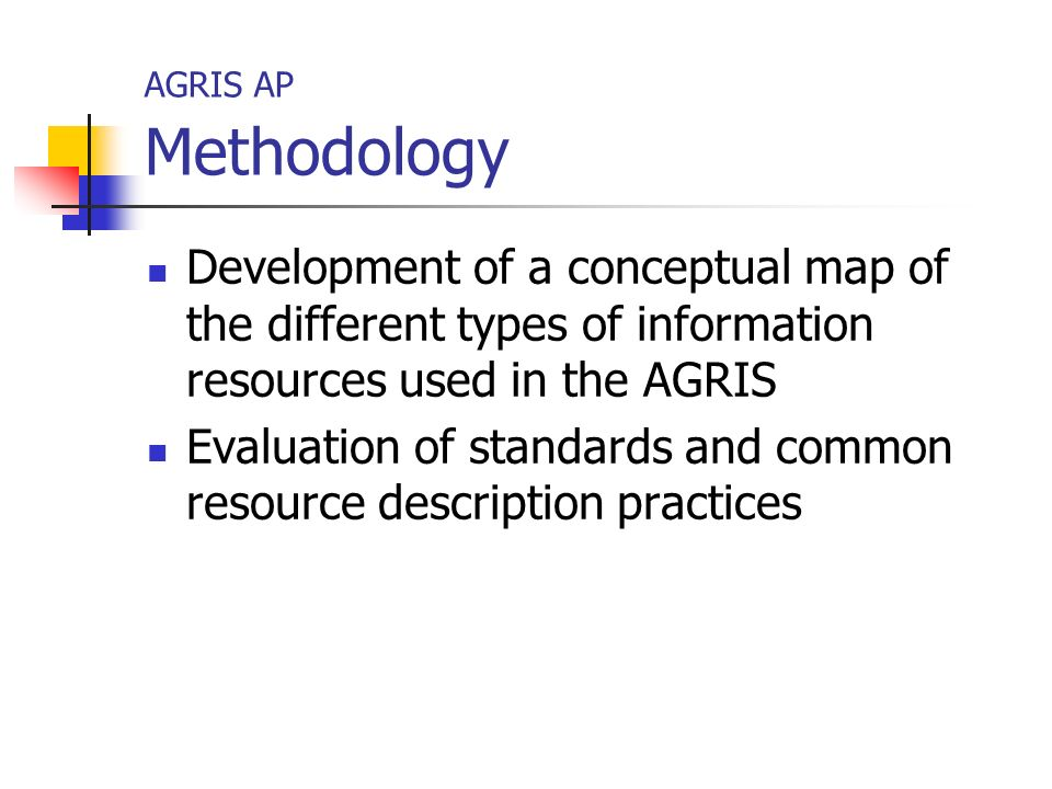 AGRIS AP Methodology Development of a conceptual map of the different types of information resources used in the AGRIS Evaluation of standards and common resource description practices