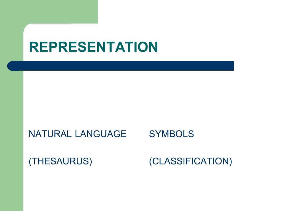 REPRESENTATION NATURAL LANGUAGE (THESAURUS) SYMBOLS (CLASSIFICATION)