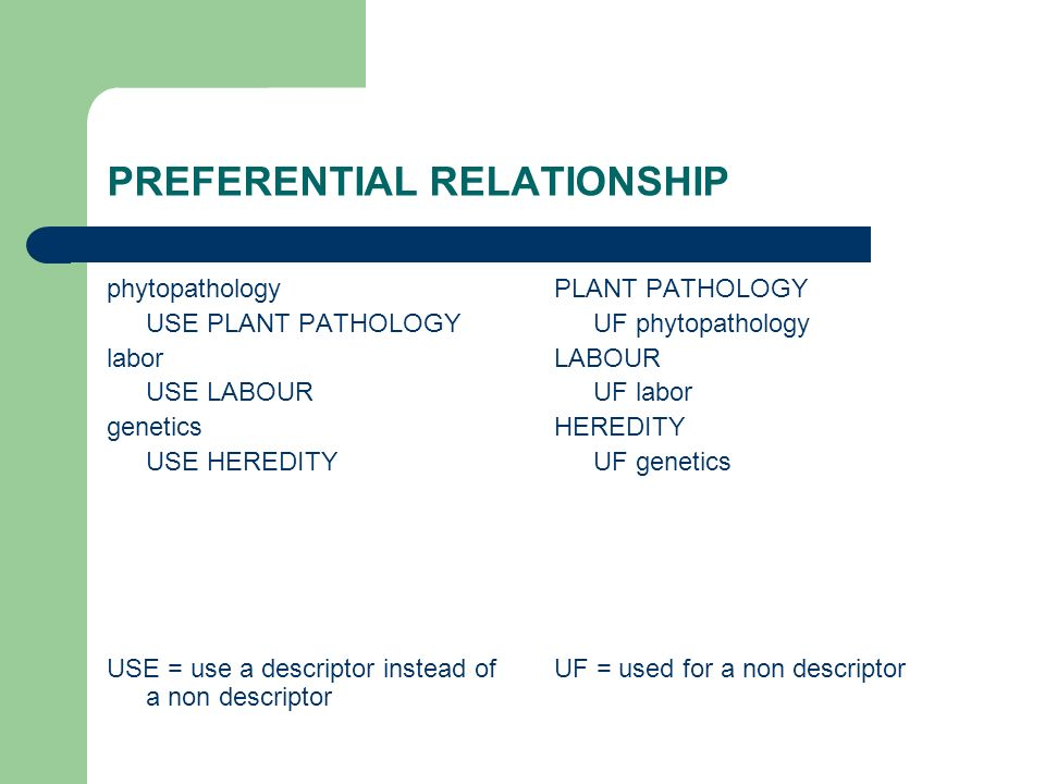 PREFERENTIAL RELATIONSHIP phytopathology USE PLANT PATHOLOGY labor USE LABOUR genetics USE HEREDITY USE = use a descriptor instead of a non descriptor