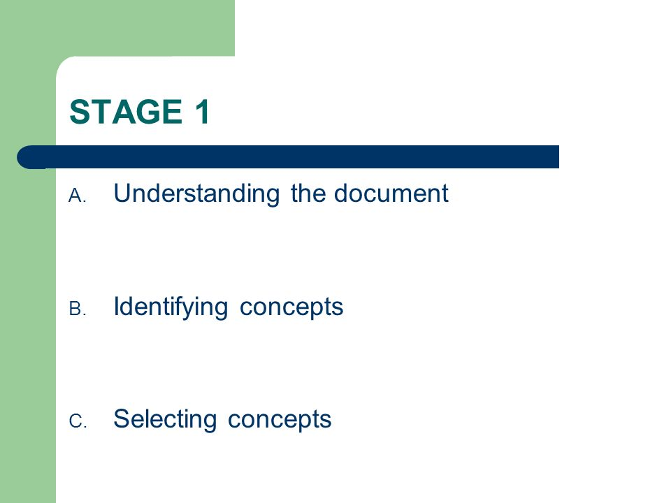 STAGE 1 A. Understanding the document B. Identifying concepts C. Selecting concepts