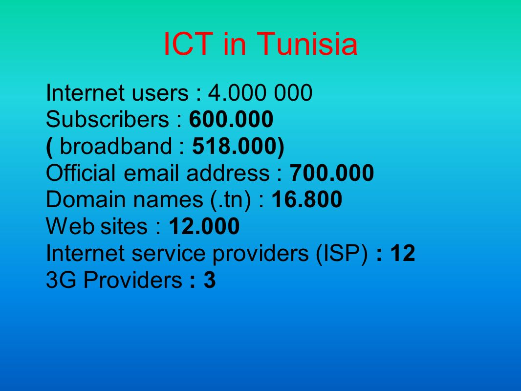 ICT in Tunisia Internet users : Subscribers : ( broadband : ) Official  address : Domain names (.tn) : Web sites : Internet service providers (ISP) : 12 3G Providers : 3