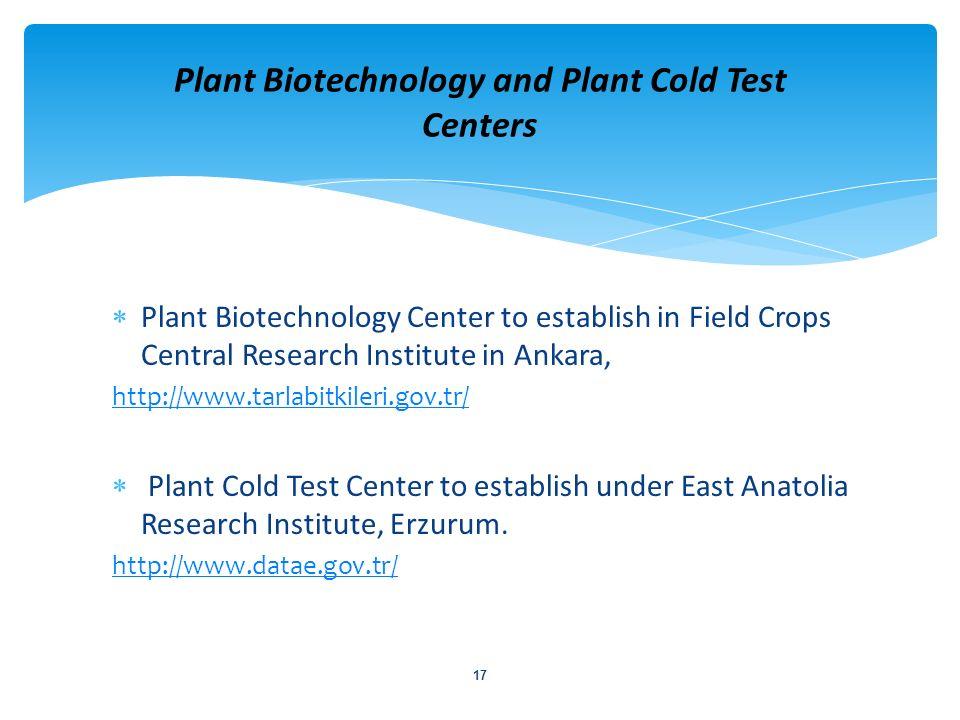 Plant Biotechnology Center to establish in Field Crops Central Research Institute in Ankara, http://www.tarlabitkileri.gov.tr/ Plant Cold Test Center
