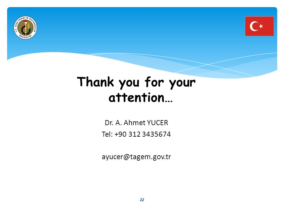 Thank you for your attention… Dr. A. Ahmet YUCER Tel: +90 312 3435674 ayucer@tagem.gov.tr 22