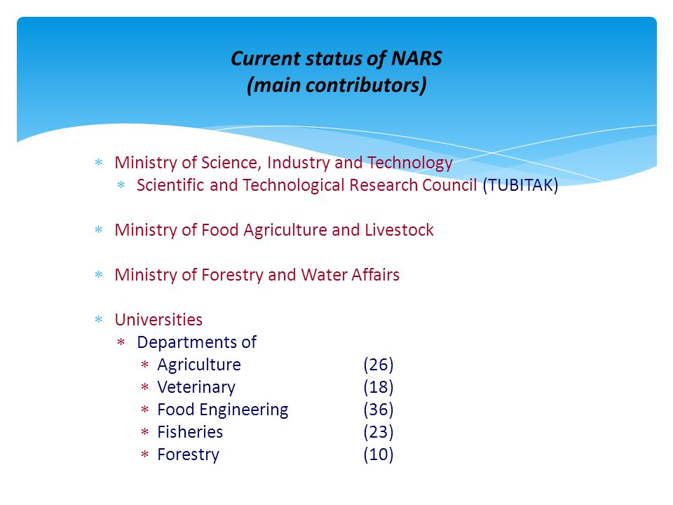 Current status of NARS (main contributors) Ministry of Science, Industry and Technology Scientific and Technological Research Council (TUBITAK) Minist