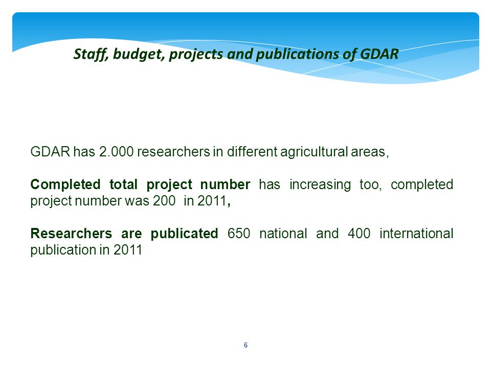6 GDAR has 2.000 researchers in different agricultural areas, Completed total project number has increasing too, completed project number was 200 in 2
