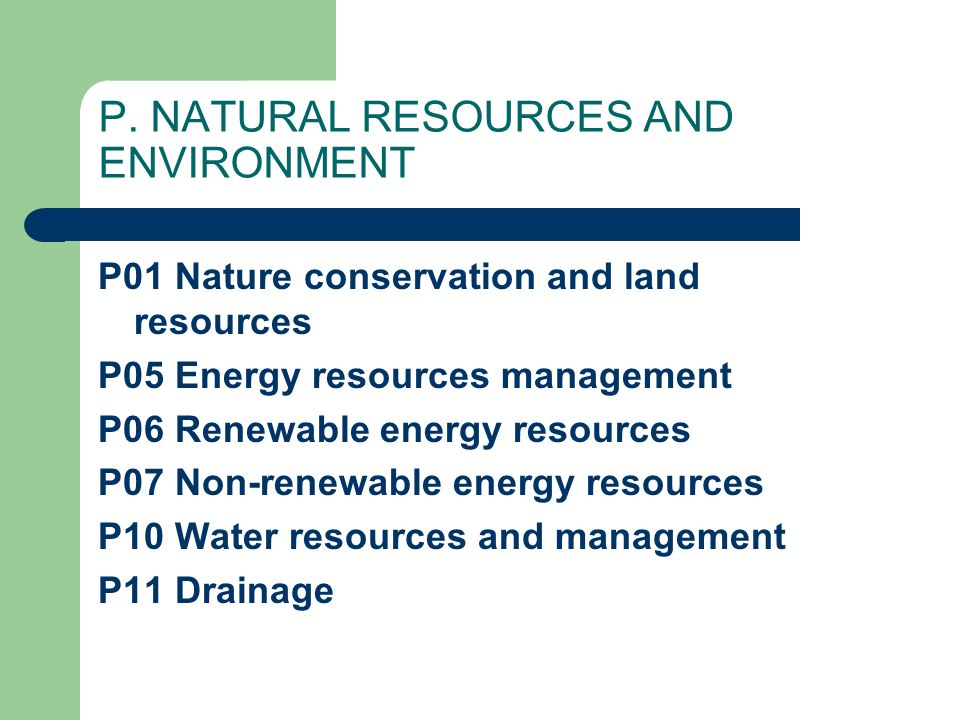 P. NATURAL RESOURCES AND ENVIRONMENT P01 Nature conservation and land resources P05 Energy resources management P06 Renewable energy resources P07 Non