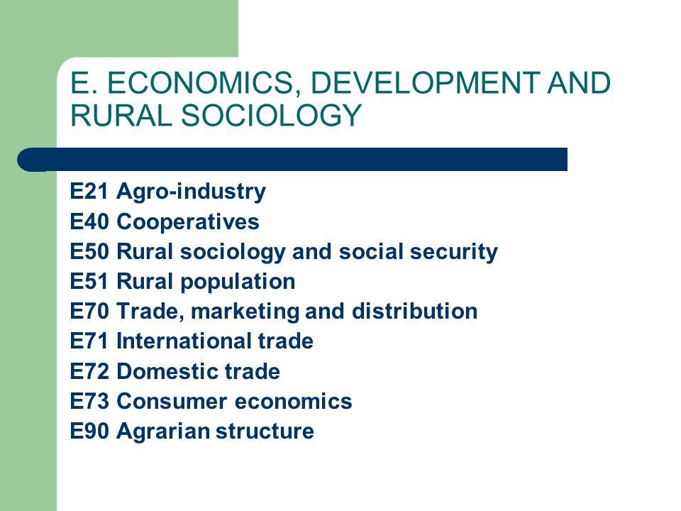 E. ECONOMICS, DEVELOPMENT AND RURAL SOCIOLOGY E21 Agro-industry E40 Cooperatives E50 Rural sociology and social security E51 Rural population E70 Trad