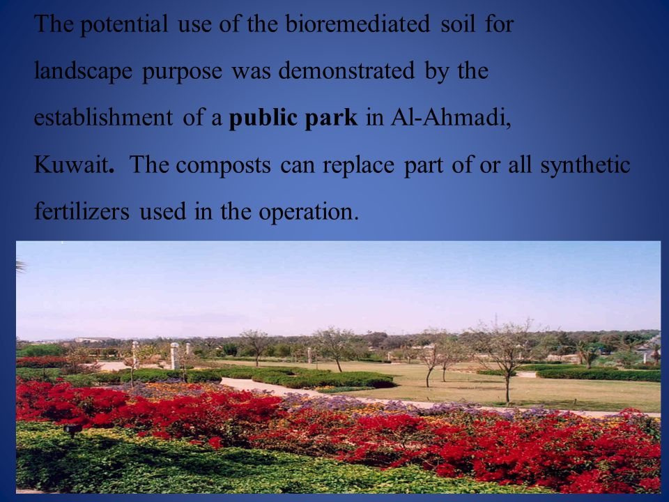 The potential use of the bioremediated soil for landscape purpose was demonstrated by the establishment of a public park in Al-Ahmadi, Kuwait. The com