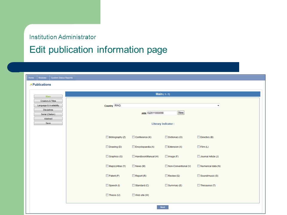 Institution Administrator Edit publication information page