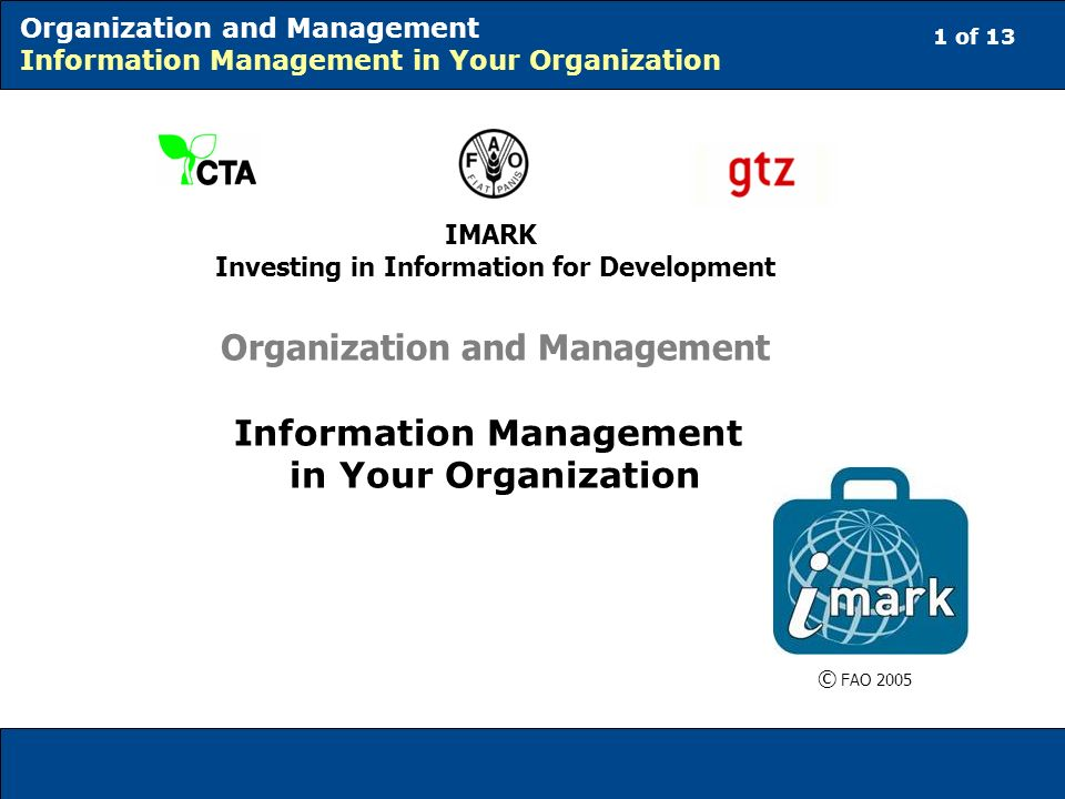 12 of 13 Organization and Management Information Management in Your Organization Conclusions To summarize, here is what to do when starting an analysis of the key information management resources in your organization: 1.identify the key information management activities that you want to perform and the necessary key resources; and 2.ask basic questions about current practice.