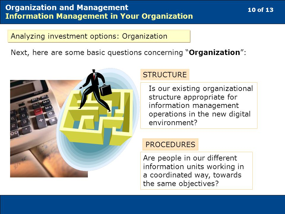 10 of 13 Organization and Management Information Management in Your Organization Analyzing investment options: Organization Next, here are some basic questions concerning Organization: Are people in our different information units working in a coordinated way, towards the same objectives.