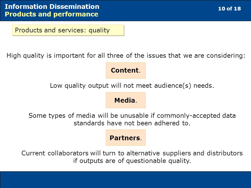 10 of 18 Information Dissemination Products and performance Products and services: quality High quality is important for all three of the issues that we are considering: Content.