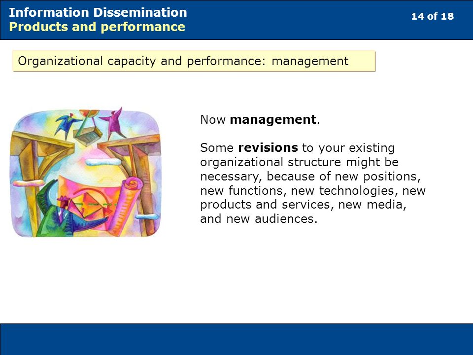 14 of 18 Information Dissemination Products and performance Organizational capacity and performance: management Now management.