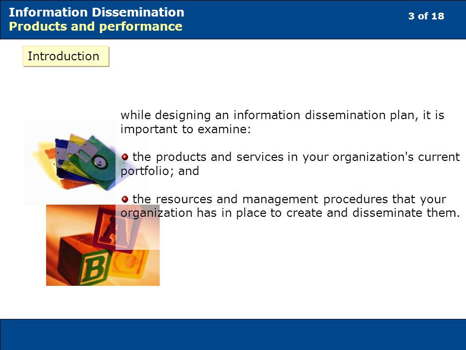 3 of 18 Information Dissemination Products and performance Introduction while designing an information dissemination plan, it is important to examine:
