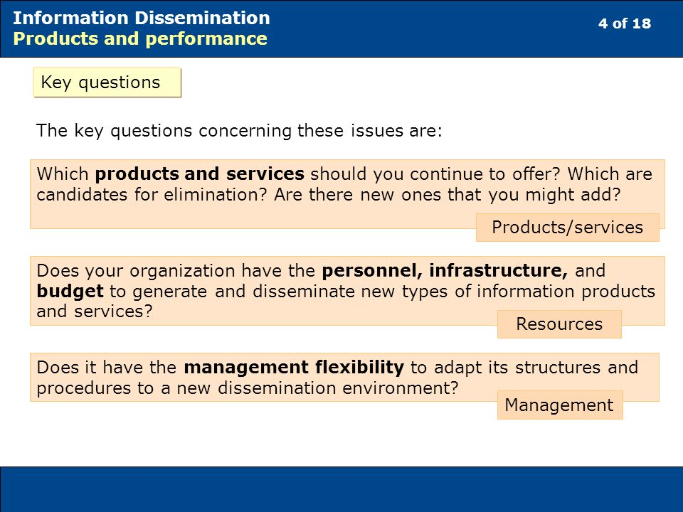 4 of 18 Information Dissemination Products and performance Key questions The key questions concerning these issues are: Which products and services should you continue to offer.
