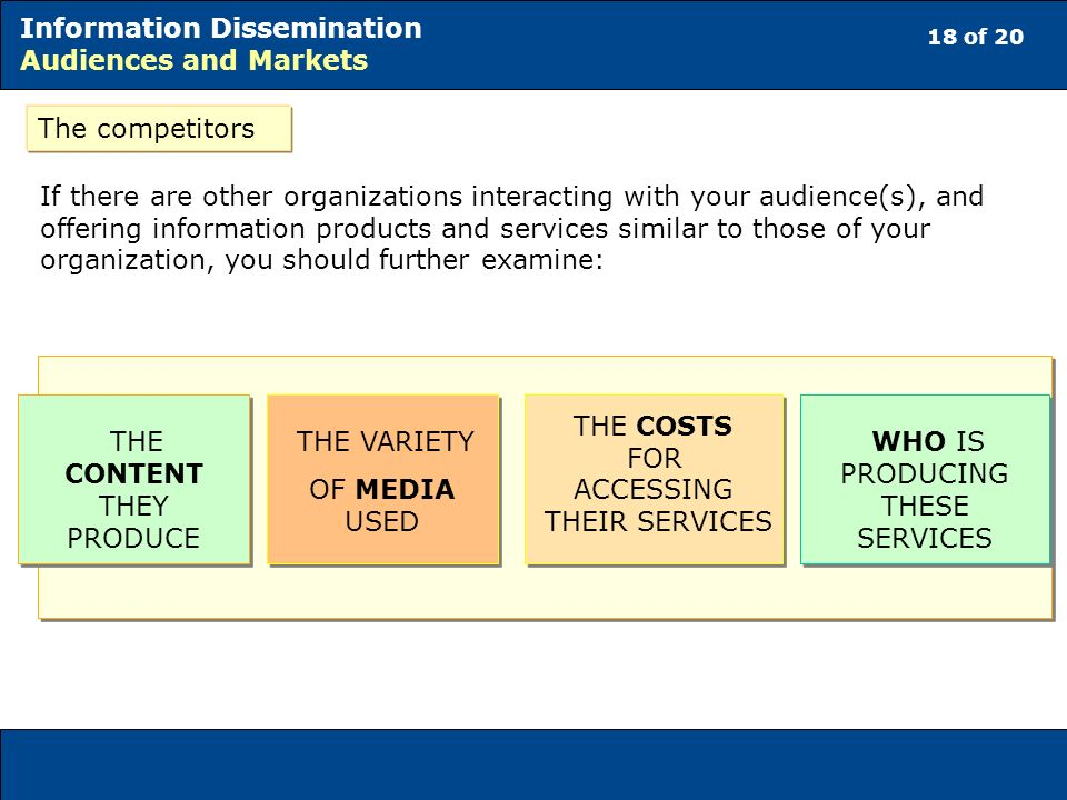 18 of 20 Information Dissemination Audiences and Markets If there are other organizations interacting with your audience(s), and offering information products and services similar to those of your organization, you should further examine: THE CONTENT THEY PRODUCE THE VARIETY OF MEDIA USED THE VARIETY OF MEDIA USED WHO IS PRODUCING THESE SERVICES THE COSTS FOR ACCESSING THEIR SERVICES The competitors