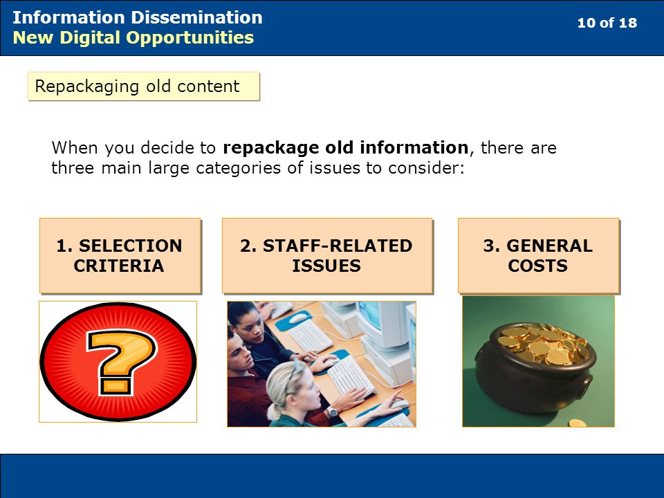 10 of 18 Information Dissemination New Digital Opportunities Repackaging old content When you decide to repackage old information, there are three main large categories of issues to consider: 1.