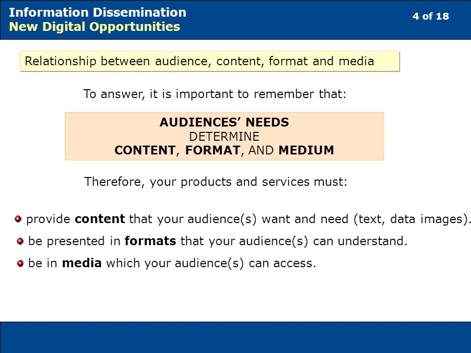 4 of 18 Information Dissemination New Digital Opportunities Relationship between audience, content, format and media To answer, it is important to remember that: AUDIENCES NEEDS DETERMINE CONTENT, FORMAT, AND MEDIUM Therefore, your products and services must: provide content that your audience(s) want and need (text, data images).