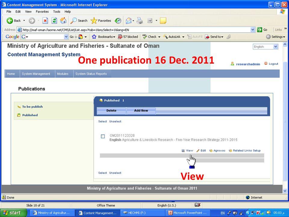 One publication 16 Dec. 2011 View