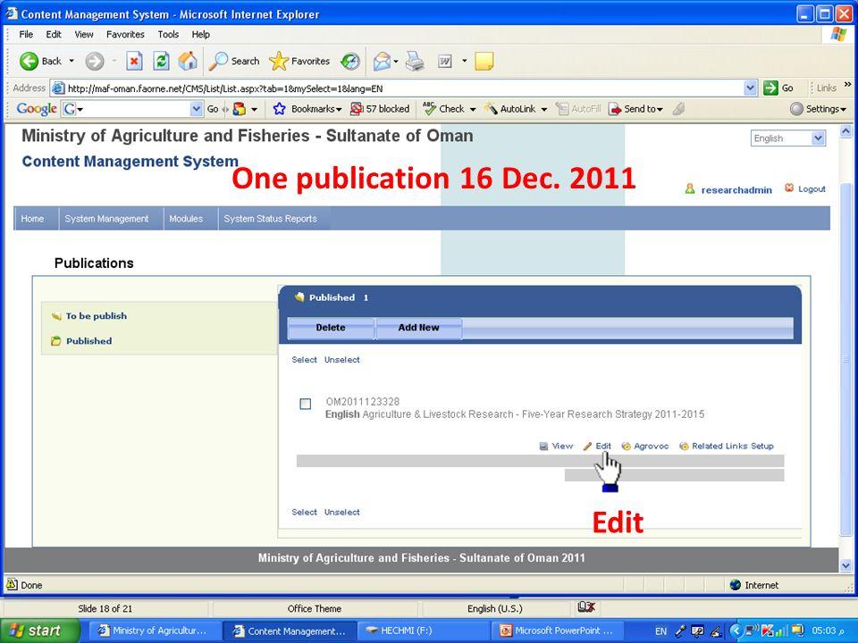 One publication 16 Dec. 2011 Edit
