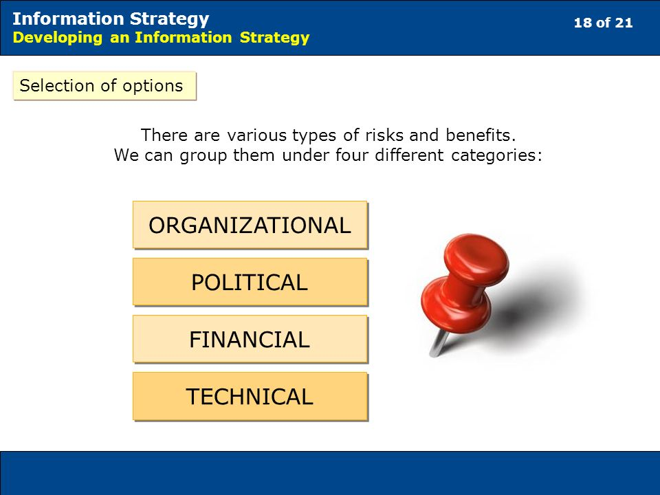 18 of 21 Information Strategy Developing an Information Strategy Selection of options There are various types of risks and benefits.
