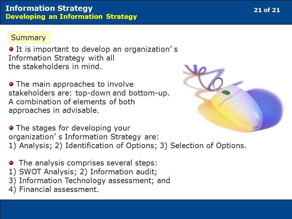 21 of 21 Information Strategy Developing an Information Strategy Summary It is important to develop an organization s Information Strategy with all the stakeholders in mind.