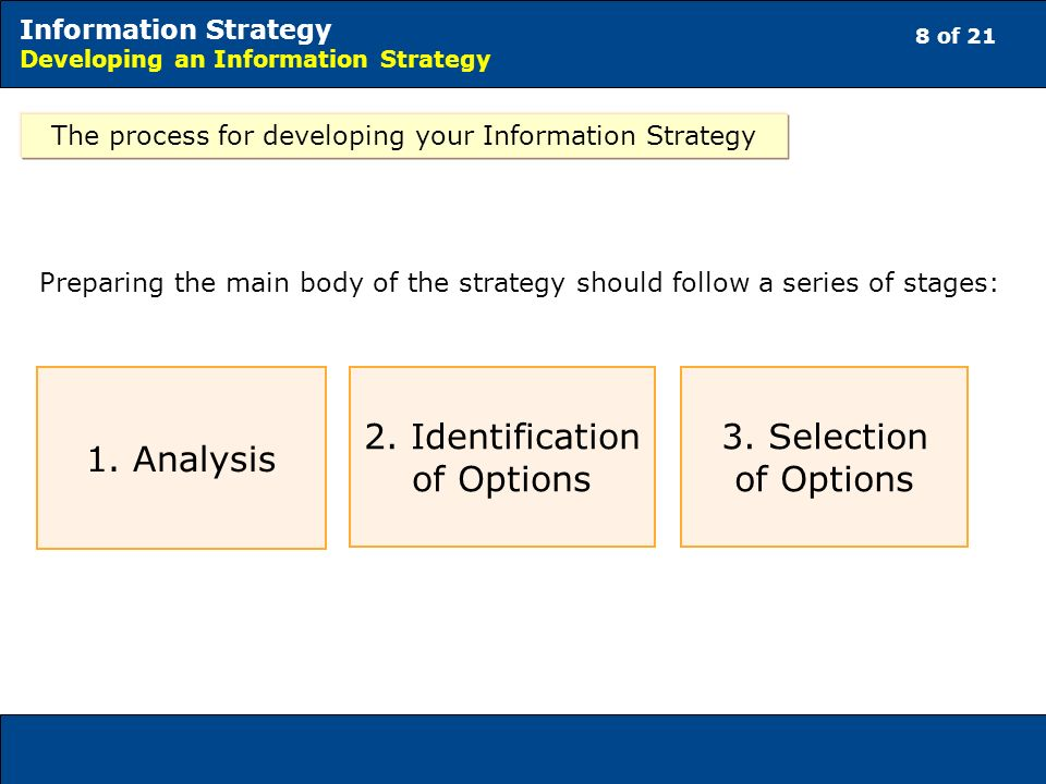 8 of 21 Information Strategy Developing an Information Strategy The process for developing your Information Strategy 1.