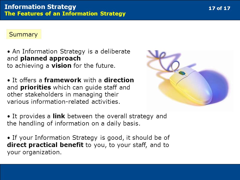 17 of 17 Information Strategy The Features of an Information Strategy Summary An Information Strategy is a deliberate and planned approach to achieving a vision for the future.