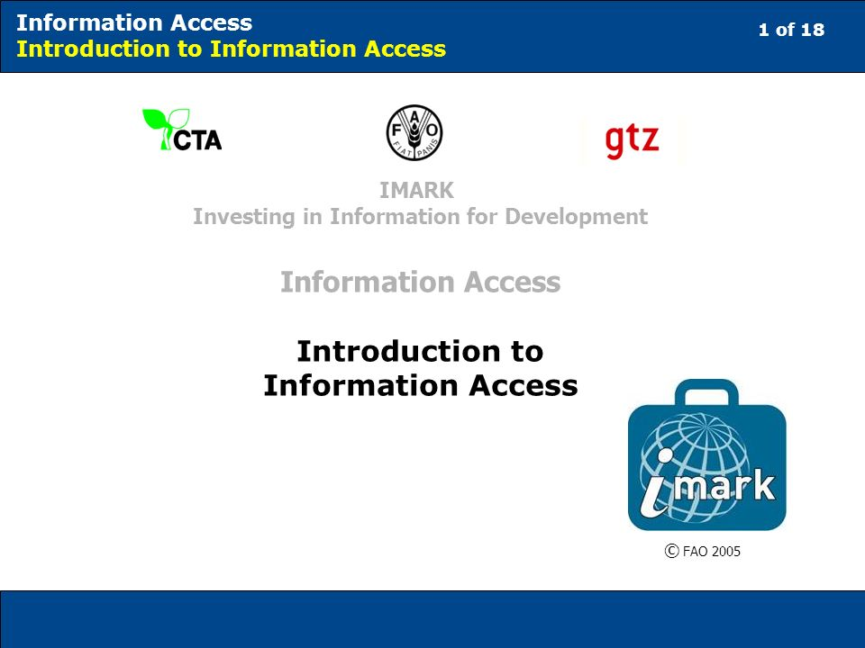 12 of 18 Information Access Introduction to Information Access Relevance; Timeliness; Ownership; and Long-term Usability.
