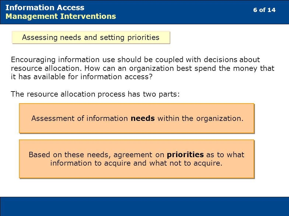 6 of 14 Information Access Management Interventions Assessing needs and setting priorities Encouraging information use should be coupled with decisions about resource allocation.