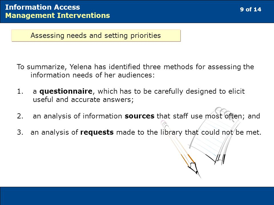 9 of 14 Information Access Management Interventions Assessing needs and setting priorities To summarize, Yelena has identified three methods for assessing the information needs of her audiences: 1.