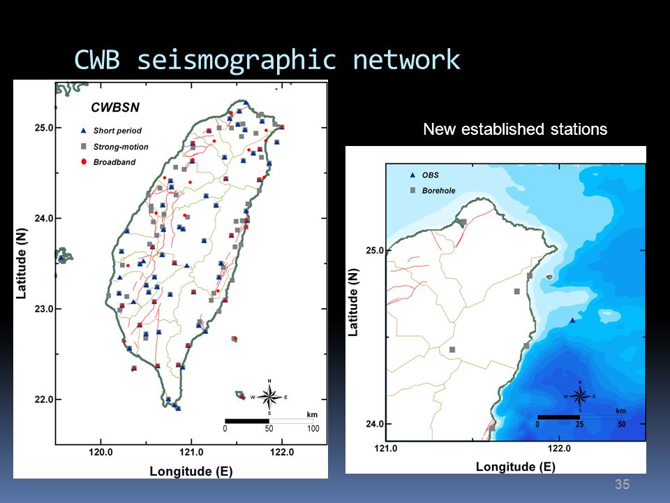 35 CWB seismographic network New established stations