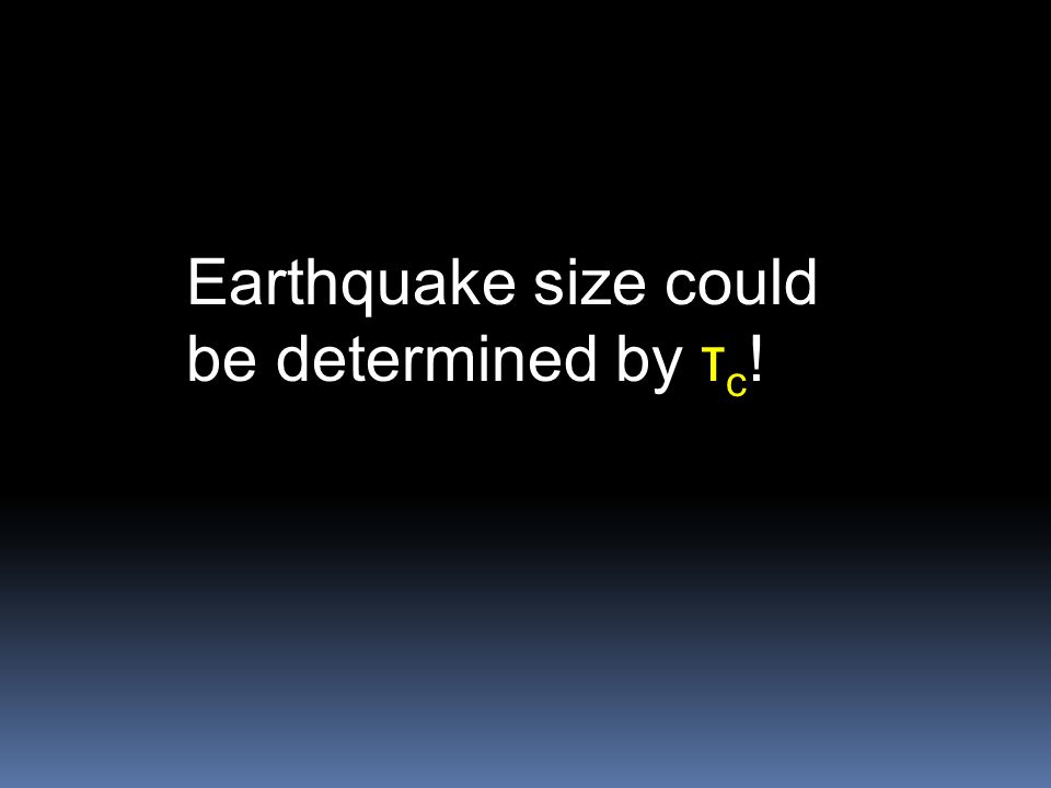 Earthquake size could be determined by τ c !