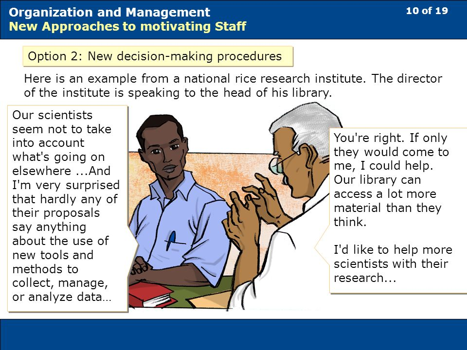 10 of 19 Organization and Management New Approaches to motivating Staff Option 2: New decision-making procedures Our scientists seem not to take into