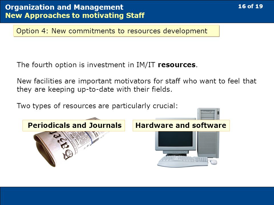 16 of 19 Organization and Management New Approaches to motivating Staff Option 4: New commitments to resources development The fourth option is investment in IM/IT resources.