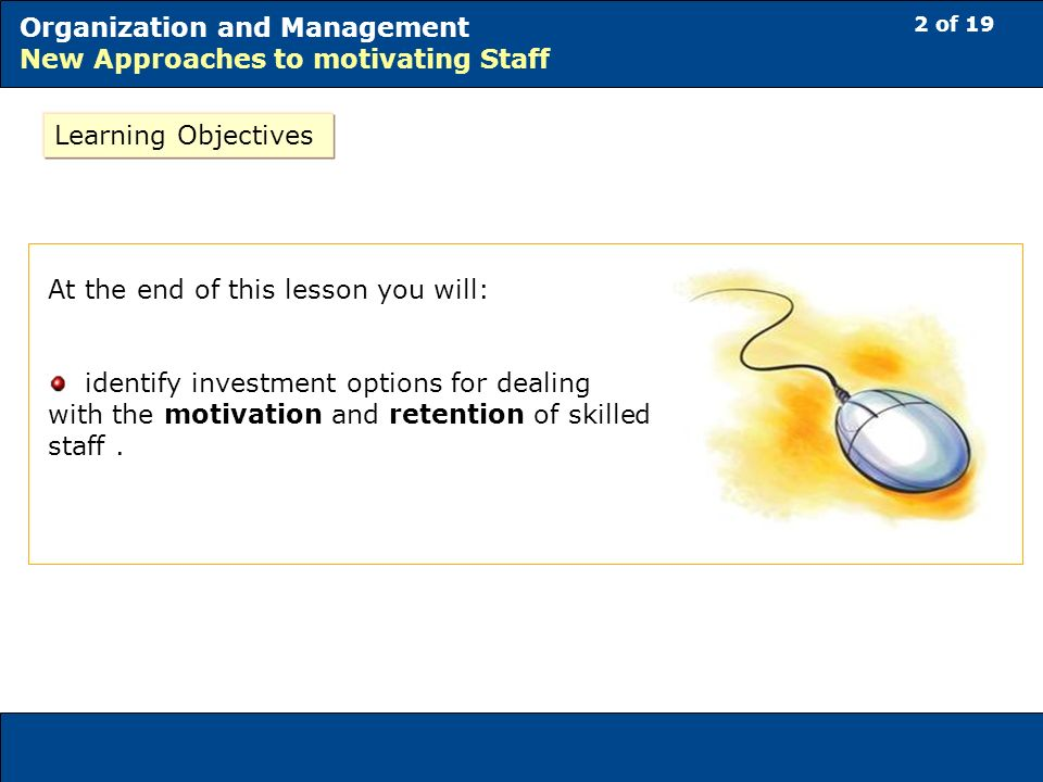 2 of 19 Organization and Management New Approaches to motivating Staff At the end of this lesson you will: identify investment options for dealing with the motivation and retention of skilled staff.