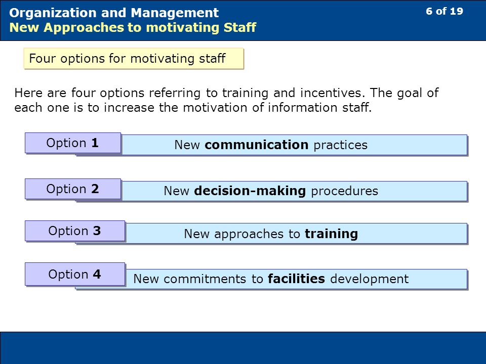 6 of 19 Organization and Management New Approaches to motivating Staff Four options for motivating staff Here are four options referring to training and incentives.