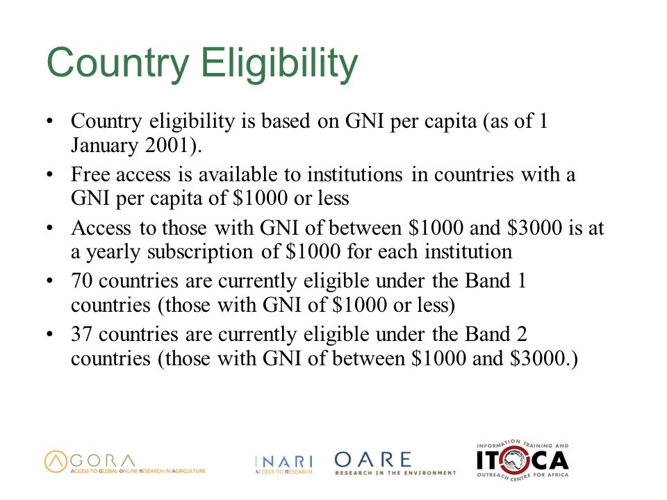 Country Eligibility Country eligibility is based on GNI per capita (as of 1 January 2001).