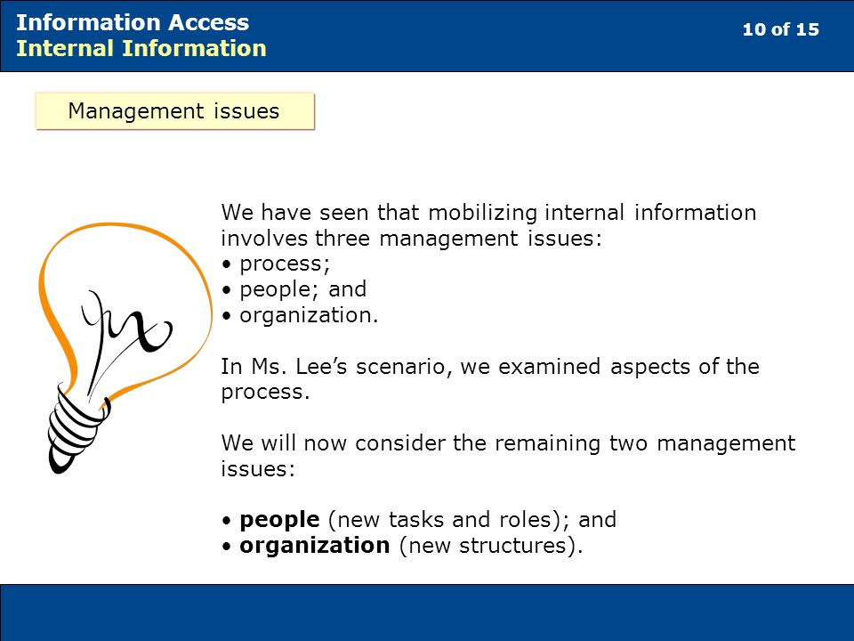 10 of 15 Information Access Internal Information Management issues We have seen that mobilizing internal information involves three management issues: process; people; and organization.