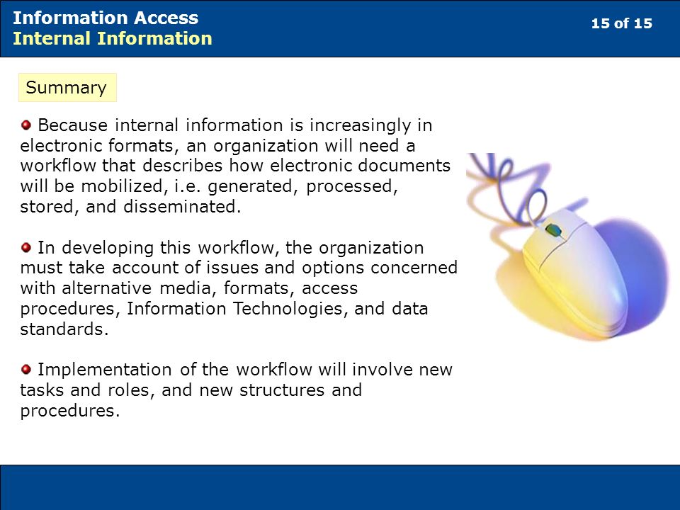 15 of 15 Information Access Internal Information Summary Because internal information is increasingly in electronic formats, an organization will need a workflow that describes how electronic documents will be mobilized, i.e.