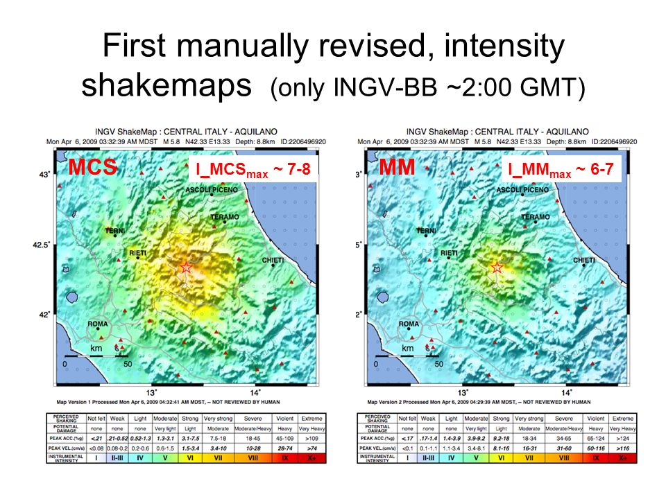 First manually revised, intensity shakemaps (only INGV-BB ~2:00 GMT) MCSMM I_MCS max ~ 7-8I_MM max ~ 6-7