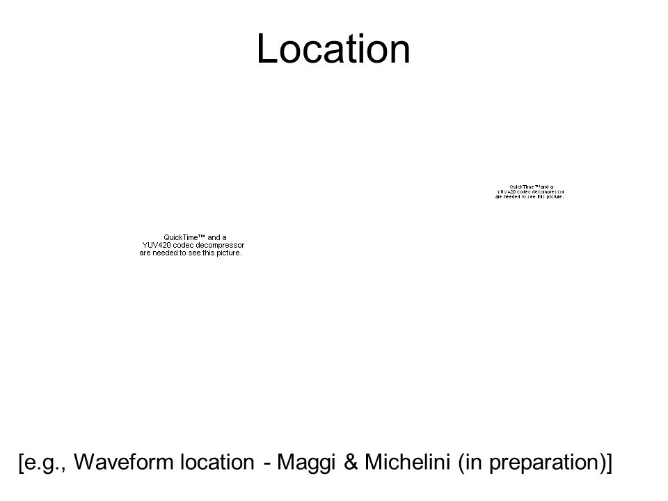Location [e.g., Waveform location - Maggi & Michelini (in preparation)]