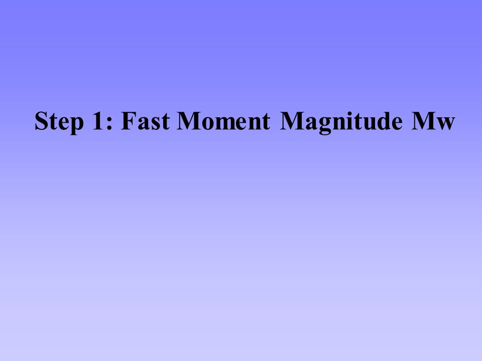 Step 1: Fast Moment Magnitude Mw