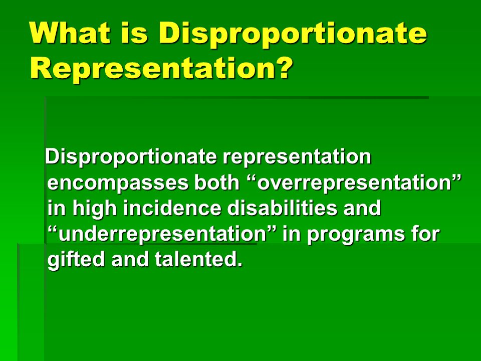National Center for Culturally Responsive Educational Systems (NCCREST) 2007 Disproportionate Representation Looks Like This Overrepresentation Percentage of students in school populationPercentage of students in special education programs